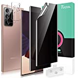 TOCOL 4 Pack Compatible with Samsung Galaxy Note 20 Ultra - 2 Pack Privacy Flexible Soft TPU Film Screen Protector [Anti-Peeping] and 2 Pack Camera Lens Protector Works with Fingerprint Sensor