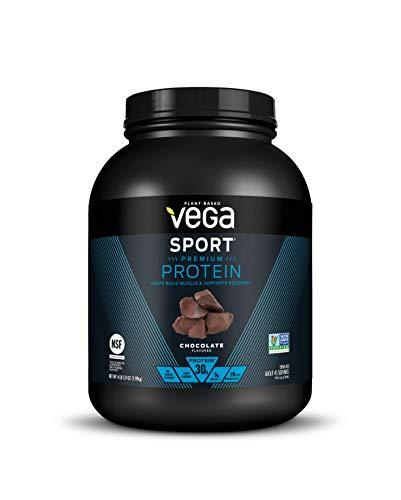 Vega Sport Premium Protein Powder, Chocolate, Plant Based Protein Powder Post Workout - Certified Vegan, Vegetarian, Keto-Friendly, Gluten Free, Dairy Free, BCAA Amino Acid (45 Servings / 4lbs 5.9oz)