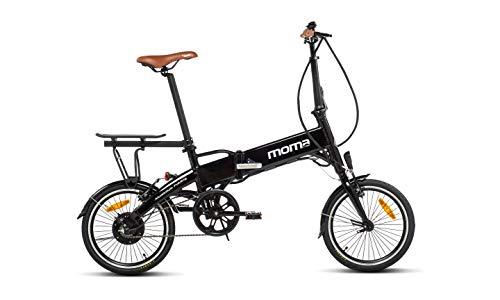 Moma Bikes E-Bike E16-Teen Vélo Electrique VAE Pliant De Ville + Porte Bagages, E-16TEEN, Aluminium, Bat. ION Lithium 36V 9Ah Mixte Adulte, Noir