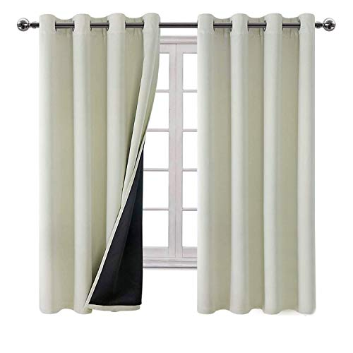 Hiasan Thermal Insulated 100% Blackout Curtains for Bedroom - Full Sun Blocking & Energy Efficient Double Layer Window Curtains for Kids Room Living Room, 52 x 63 Inches, Beige, 2 Panels