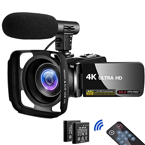 Video Camera 4K Camcorder UHD Vlogging Camera for YouTube WiFi 48M Digital Zoom Camcorder IR Night Vision 3 in Touch Screen Support Webcam Microphone