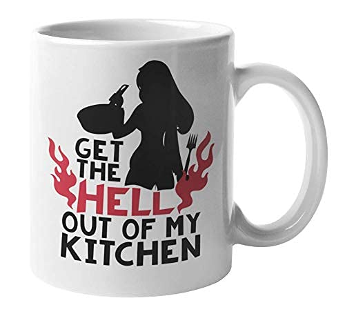 Obtener el infierno Out Of My Kitchen con silueta de una mujer que cocina Taza divertida de regalo de café y té y material de artes culinarias para una cocinera o chef casera Mamá, abuela, hermana, no
