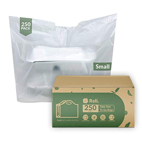 Reli. To Go Bags/Take Out Bags (250 Count) (Small 16'L x 8'W + 10.75'H) Reusable Plastic Bags with Handles/Shopping Bag - Die Cut Handle - Plastic Bag for Business, Carry Out, Restaurant Bags