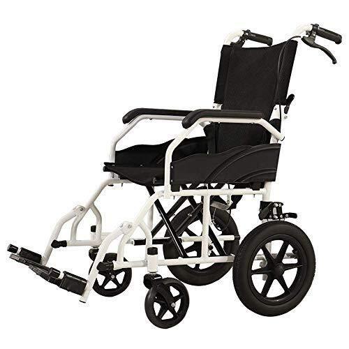 HJH Eetkamerstoel, opvouwbare rolstoel, lichtgewicht rolstoel, gevoerde rugleuning en armleuningen, afneembare armleuningen, verstelbare voetsteunen, zwarte keukenstoelen