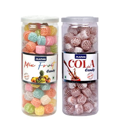 Madhu Premium Candy Mix Fruit/Cola CAN 230gms Each   कँडी मिक्स फ्रूट / कोला, মিছরি মিশ্রিত ফল / কোলা, కాండీ మిక్స్ ఫ్రూట్ / కోలా, ಕ್ಯಾಂಡಿ ಮಿಕ್ಸ್ ಹಣ್ಣು / ಕೋಲಾ   (Combo)