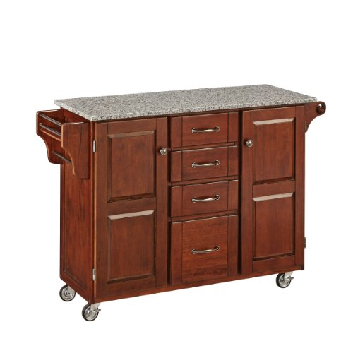 Create-a-Cart Medium Cherry 2 Door Cabinet Kitchen Cart with Salt and Pepper Granite Top by Home Styles