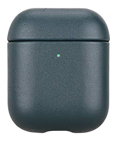 Fooyin Handmade Series Étui en Cuir pour AirPods, Protection Coque (Cuir de Vache) Housse Compatible avec Apple AirPods 1 & 2, Vert foncé