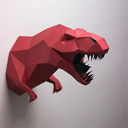 Papercraft DIY 3D Papel Animales 34 x 40 cm Decoración de Pared Papercraft Building Kit Origami Papel Modelo Ornament DIY Juguetes para niños pequeños (Rojo)