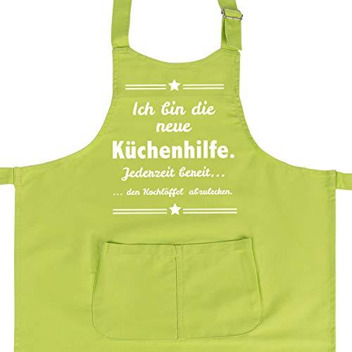 WANDKINGS Kinderschürze Ich Bin die Neue Küchenhilfe. Jeder Zeit bereit den Kochlöffel ab zu lecken. - Wähle Farbe - GRÜN
