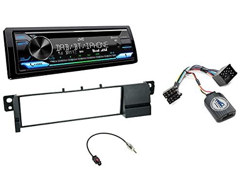 NIQ Autoradio Einbauset geeignet für BMW 3er inkl. JVC KD-DB912BT DAB+ & Lenkrad Fernbedienung Adapter in Schwarz
