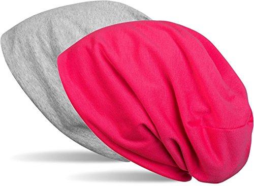 styleBREAKER Beanie Wendemütze in Unifarben, Slouch Mütze, leicht und weich, Longbeanie, Unisex 04024115, Farbe:Grau meliert/Pink
