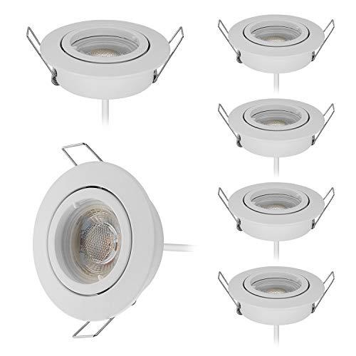 HCFEI 6er set LED Einbaustrahler dimmbar Weiß schwenkbar 5W flach 230V Einbau-Spot Strahler Einbauspot 68mm Bohrloch, 38°Abstrahlwinkel,Warmweiß 3000K