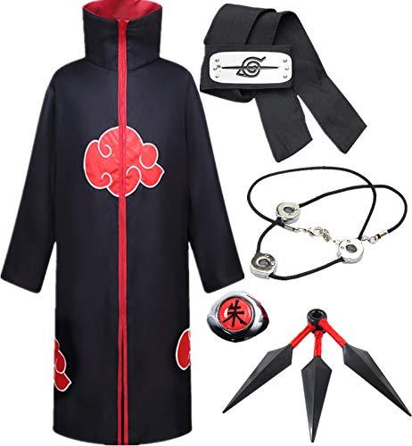 AISHANGYIDE Anime Naruto Akatsuki/Uchiha Itachi Cosplay Vestir Halloween Navidad Cumpleaños Carnaval Fiesta Mascarada Disfraz Naruto Pain Headband Kunai Niño Adulto Unisexo Hokage Ninja Accesorios