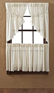 VHC Brands Tobacco Cloth Solid Color Cotton Farmhouse Kitchen Rod Pocket 24x36 Curtain Panel, L24 x W36, Natural