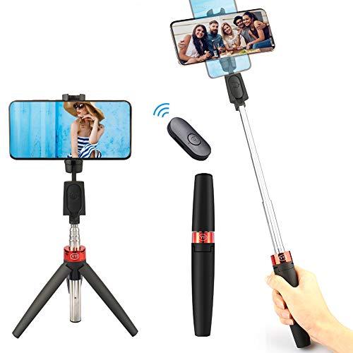 YOMERA Bastone Selfie Wireless, Selfie Stick Treppiede per Telefono Multifunzione 3 in 1 Estensibile, Asta Selfie con Rotazione 360° con Telecomando per iPhone Samsung Galaxy Huawei