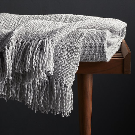 Styles Dove Fringe Throw Blanket + Reviews | Crate and Barrel