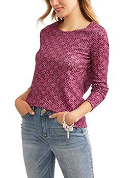 Time & Tru Women s Long Sleeve Scoop Neck T-Shirt  Burgundy XXXL  22