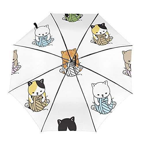 自動折りたたみ傘カラフルな猫の子猫の毛糸ボール防風、防水、耐紫外線性があり、晴れや雨の日に適していますユニセックス。