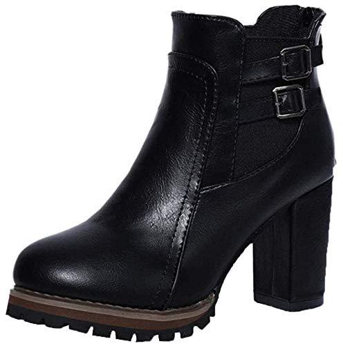 [チェリーレッド] レディース 厚底 太ヒール ブーツ ショートブーツ 歩きやすい 高級感 ブーティ サイドゴア 38 ブラック