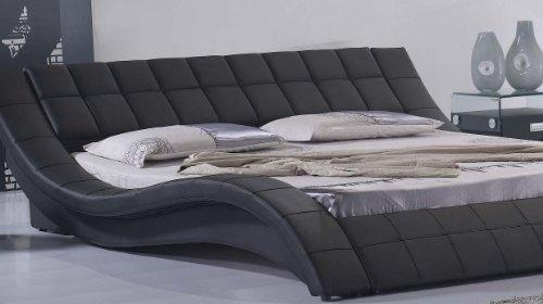 i-flair Polsterbett, Kunstlederbett R0B 180x200 cm Schwarz aus hochwertigem Kunstleder