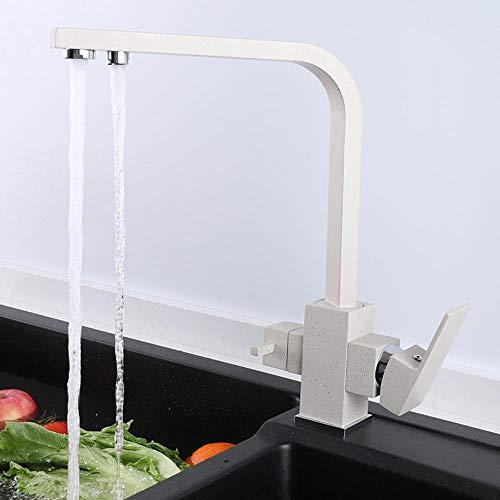 grifo osmosis cobre, grifos de cocina fregadero, grifo cocina osmosis 2 salidas, grifo cocina, para Agua Caliente y Fría, grifos cocina, grifo osmosis 3 vias-blanco