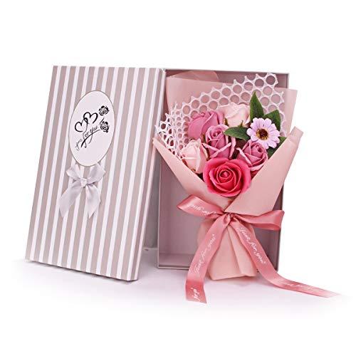 DERCLIVE Sapone Rosa Profumato Fiore di Rosa 7 Rose Bouquet di Fiori Artificiali Regalo per Compleanni San Valentino Festa Della Mamma Realistico Come Rose Appena Tagliate Dal Giardino