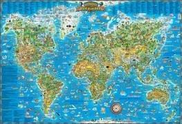 Die Welt. Karte für Kinder. Poster