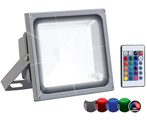 Luminea LED Strahler blau: Wetterfester RGB-Fluter mit SMD-LEDs, Fernbedienung, 2.400 lm, 30 Watt (Strahler mit Fernbedienung)