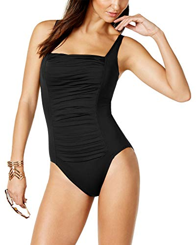 Calvin Klein Women's Pleated One Piece Swimsuit, New Black, 8