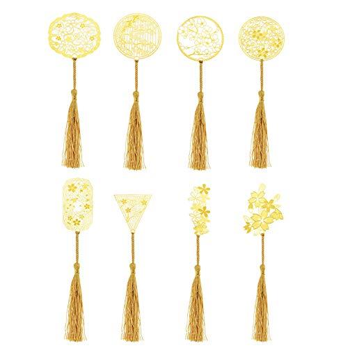 FLOWOW 8pz Segnalibro Fiore di ciliegio Sakura d'oro Metallo creatività Memoriale di Laurea Cerimonia di Nozze Bomboniera Souvenir Regalo Set