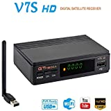 GT Media V7S HD Receptor Satélite DVB-S/S2 USB WiFi Incorporado Buscador de satélite Decodificador Full HD 1080p Soporte PVR, Newcam, Youtube, PowerVu, Dre & Biss Key a través de USB WiFi Dongle