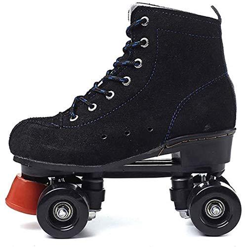 Biddtle Roller Skates Quad Patín De Ruedas De Interior Al Aire Libre Doble Línea para Hombres Y Mujeres Gran Patín De Jóvenes por Los Principiantes, Negro