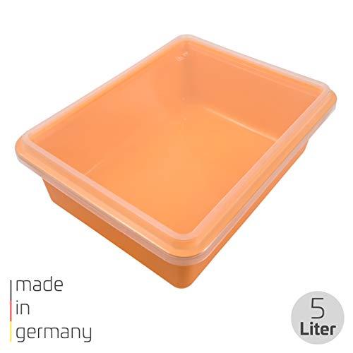 proventa® Frischhalteschale Made in Germany, BPA-frei und lebensmittelecht, 5 Liter, orange, mit transparentem Deckel, stapelbar, für Gewerbe und Privat