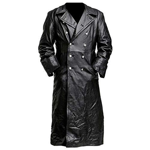 HYISHION Gabardina de Cuero para Hombre para Hombre Chaqueta Larga Abrigo de Cuero Desgastado Vintage,Negro,XL