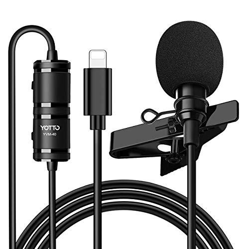 YOTTO Micrófono de Solapa Lavalier Conector Omnidirectional Condensador Micrófono 6.5M de Video Audio para iPhone iPad iOS micrófono para Grabación Entrevista Videoconferencia Podcast