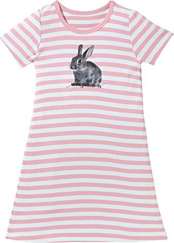 Erwin Müller Kinder-Nachthemd mit Druckmotiv Single-Jersey gestrickter Ringel rosa/weiß/grau Größe 122 / 128