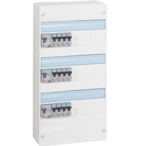 Legrand LEG93010 Tableau pré-équipé 3 rangées évolutif pour neuf ou rénovation de 35 à 100 m2