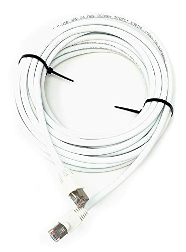 50ft Cat5e Outdoor Waterproof Ethernet Cable Direct Burial Shielded (Pure Copper), White
