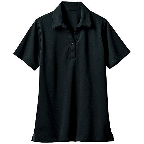 [セシール]シャツオフィスウエアー透けにくい衿付きプルオーバー半袖洗濯機OKNB-5407レディースブラック日本L(日本サイズL相当)