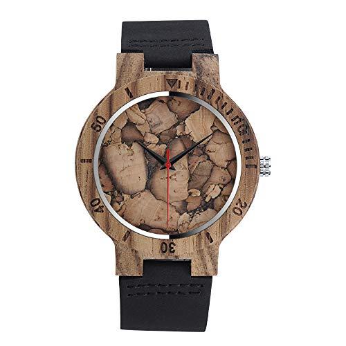 MICGIGI Orologio da polso da uomo al quarzo in legno di bambù con cinturino in pelle
