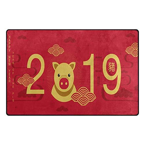 Tapijt, 31 x 20 cm, motief: vrolijk jaar 2019, Chinese varkentapijt, voor woonkamer, slaapkamer 60x39 Inches