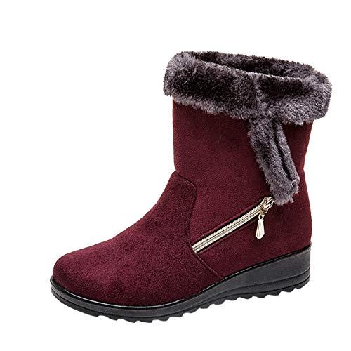 Botas de Nieve Botas de Mujer Botas de tacón Plano Botas Cortas de Invierno más algodón con Rodilla Muslo Marron sin Cuero Ancho Alto bajo Plataforma Larga