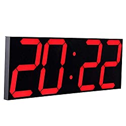 "CHKOSDA Digital LED Wall Clock, Oversize Wall Clock with 6"" Numbers, Remote Control Count up/Countdown Timer Clock, Auto Dimmer, Big Calendar and Thermometer(Red)"