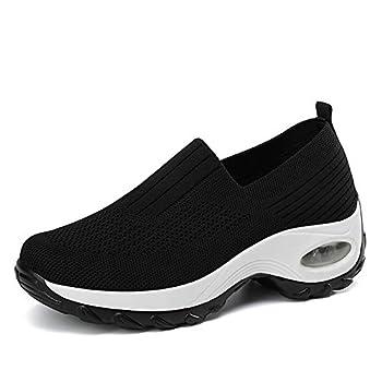Ruiatoo Women s Comfort Walking Shoes Slip On Breathable Mesh Nurse Tennis Shoes Black 36