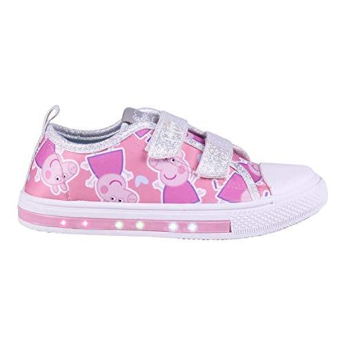 Cerdá 2300004709_T024-C70, Zapatillas de Lona Peppa Pig con Luces-Licencia Oficial Nickelodeon, Plateado...