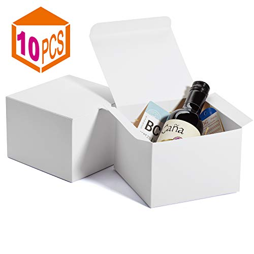 MESHA Gift Boxes 6x6x4in Gift Boxes for Bridesmaids Paper Boxes with Lids for Crafting, Cupcake Boxes (White-10Pcs)