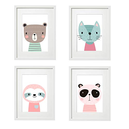 Kinderzimmer Bilder Babyzimmer Poster DIN A4 | Mädchen Junge | Baby Tiere Wald | farbig | Babyzimmer Deko… (4er #1)