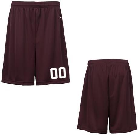 Maroon Youth Medium (Custom with Uniform #) Athletic Wicking Sports Shorts