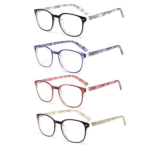 JM Occhiali da Lettura 4 Pacco di Cerniere a Molla di Qualità Occhiali da Vista per Lettori Donna +0.75 Colore Misto