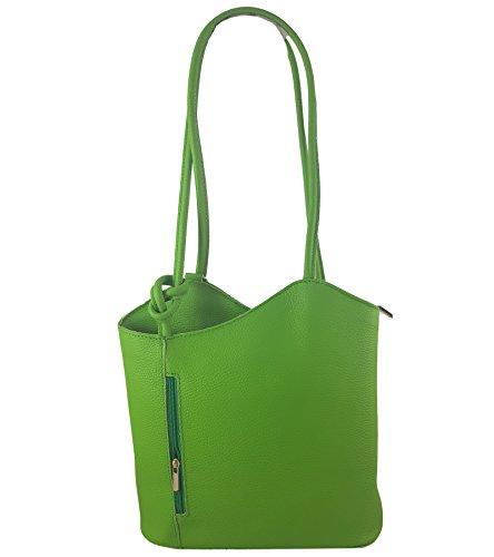 Freyday 2 in 1 Handtasche Rucksack Designer Luxus Henkeltasche aus Echtleder in versch. Designs (Glattleder Hellgrün)